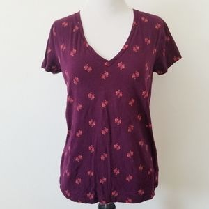 Merona Love Birds Purple V Neck